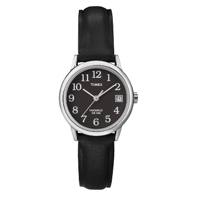 Women's Timex Easy Reader  Watch with Leather Strap - Silver/Black T2N525JT