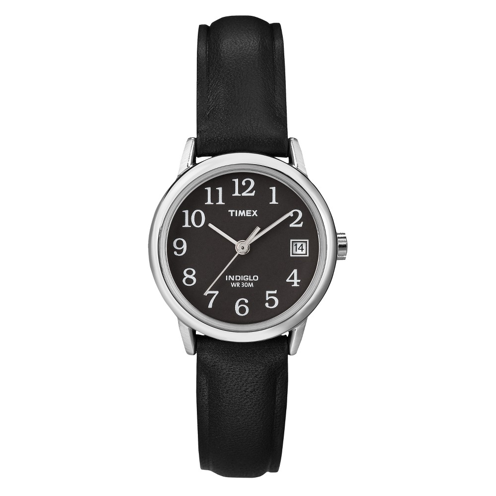 Women 39 S Timex Easy Reader Watch With Leather Strap Silver Black T2n525jt