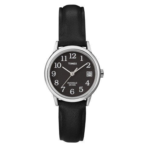cdd4f96436cb Women s Timex Easy Reader® Watch with Leather Strap - Silver Black T2N525JT
