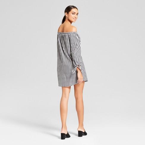 Womens Long Sleeve Off The Shoulder Dress Needlework Blackwhite