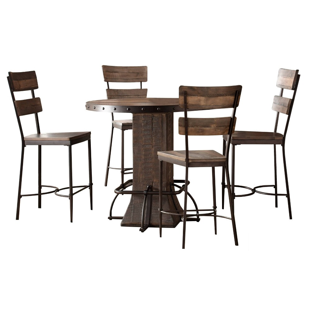 Fine Jennings 5Pc Round Counter Height Dining Set With Swivel Pabps2019 Chair Design Images Pabps2019Com