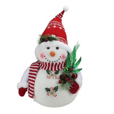 "Northlight 20"" White and Red Sparkling Snowman with Nordic Santa Hat Christmas Decor"