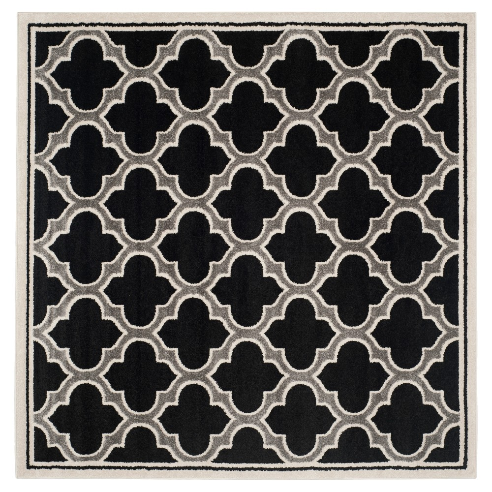 Coco 7'x7' Indoor/Outdoor Rug - Anthracite/Ivory (Grey/Ivory) - Safavieh