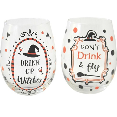 """Tabletop 4.75"""" Halloween Wine Glass Stemless Witch Party Ganz  -  Drinkware - image 1 of 3"""