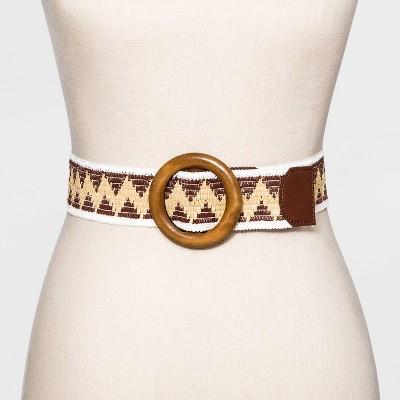 Women's Straw Woven Belt - Universal Thread™ Mocha Brown