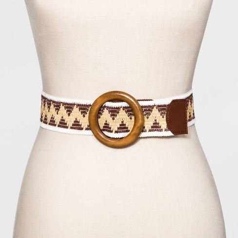 Women's Straw Woven Belt - Universal Thread™ Mocha Brown - image 1 of 2