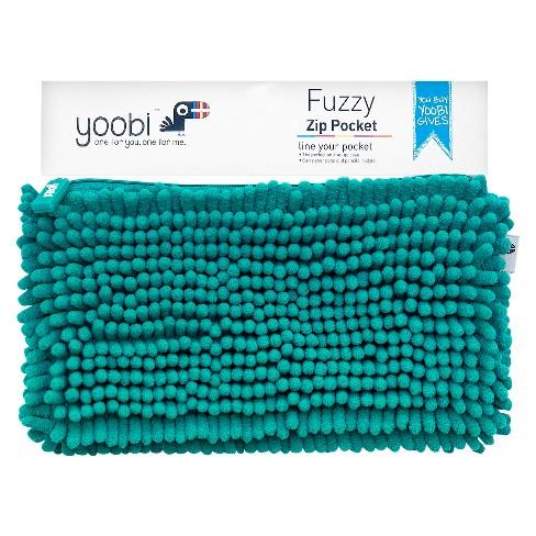 Yoobi™ Fuzzy Pocket Pencil Case - Aqua - image 1 of 3