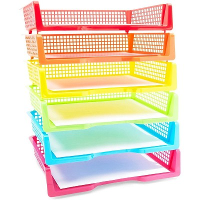 Bright Creations 6 Colors Stackable Plastic Letter Trays Document Holder Desk Organizer Office Supplies 9.2x3x13.3 in