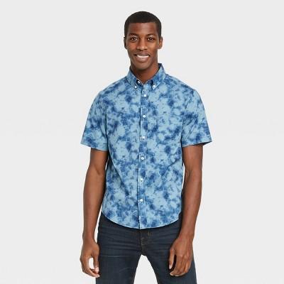 Men's Regular Fit Stretch Poplin Short Sleeve Button-Down Shirt - Goodfellow & Co™