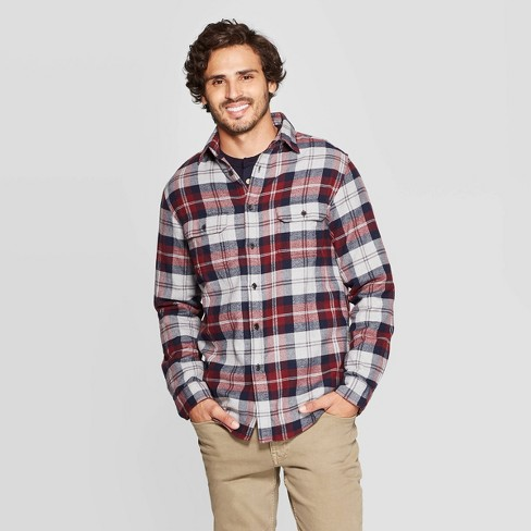 Mstyle Mens Button Down Long Sleeve Plaid Casual Regular Fit Flannel Checkered Shirt