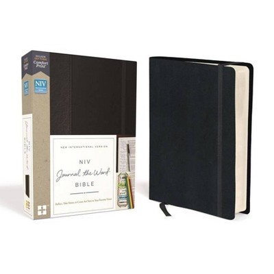 NIV, Journal the Word Bible, Hardcover, Black, Red Letter Edition, Comfort Print - by  Zondervan