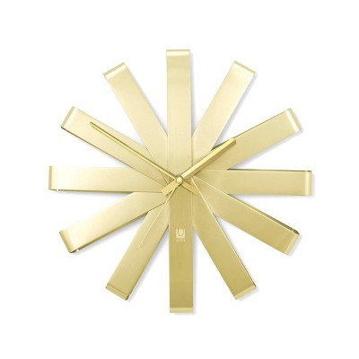 "12"" Ribbon Wall Clock Brass - Umbra"