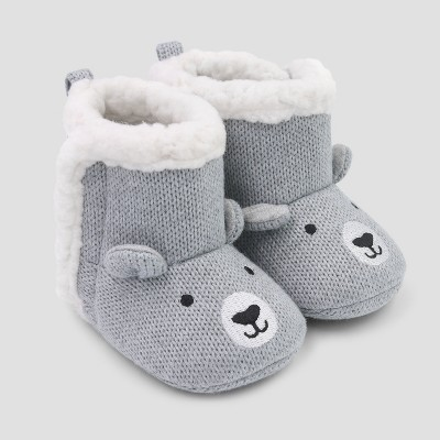 Baby's Knit Bear Slipper - Just One You® made by carter's Gray 0-3M