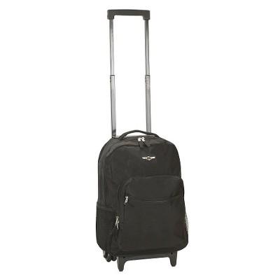 """Rockland 17"""" Roadster Rolling Backpack - Black"""