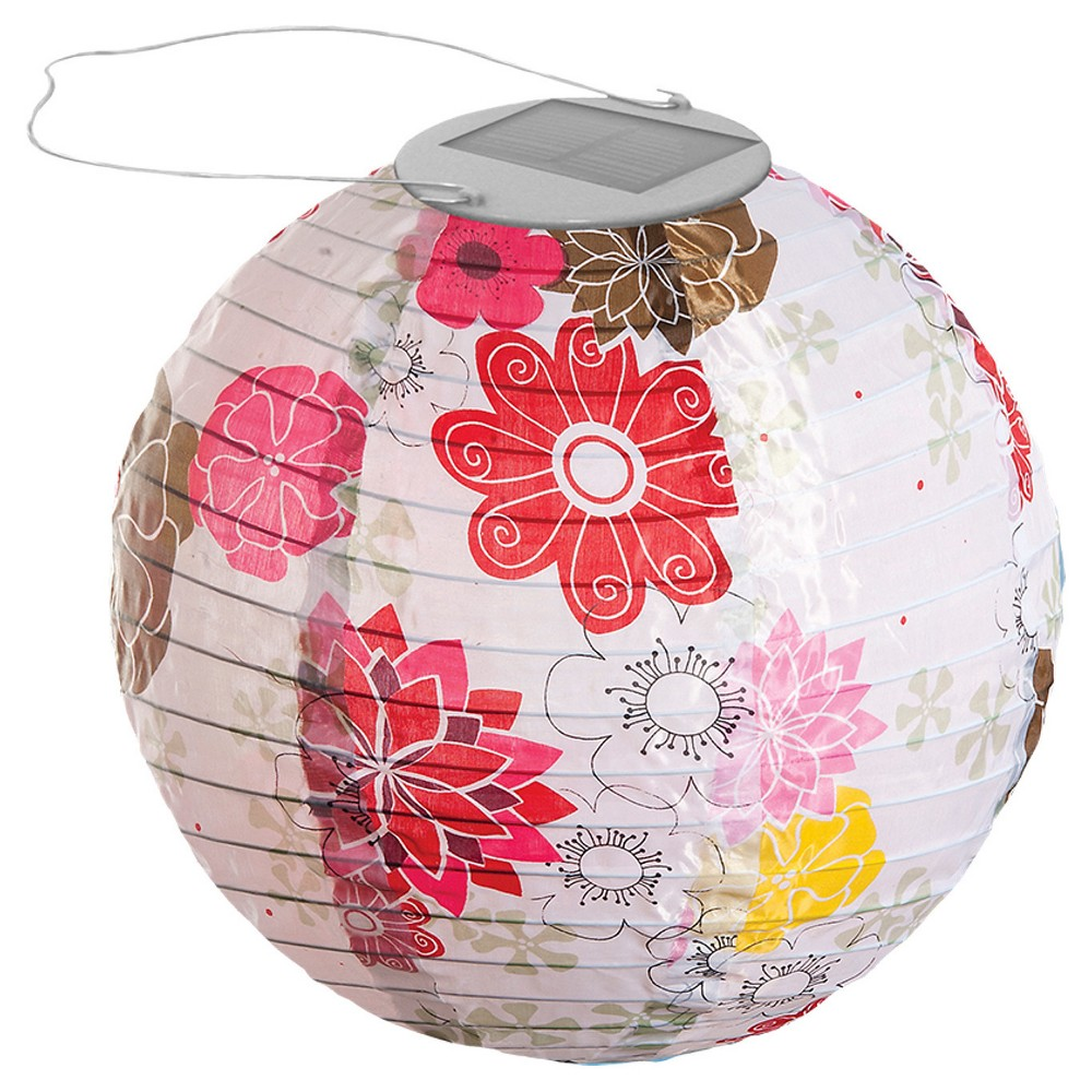 "Image of ""10"""" GLOW Solar LED Outdoor Lantern Floral Bloom, Floral Pink"""