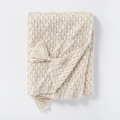 Chunky Knit Throw Blanket Cream - Threshold™ designed with Studio McGee