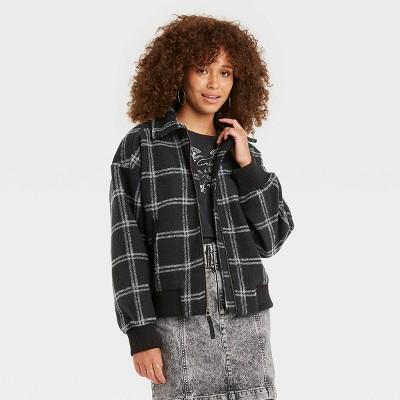 Women's Plaid Knit Bomber Jacket - Universal Thread™