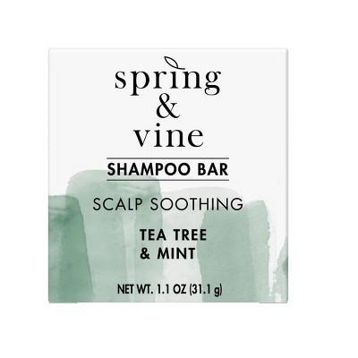 Spring & Vine Mini Scalp Soothing Tea Tree & Mint Shampoo Bar - 1.1oz