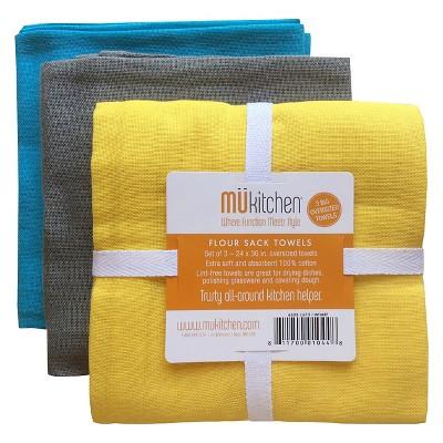 3pk Flour Sack Kitchen Towels Yellow/Black/Blue - MU Kitchen