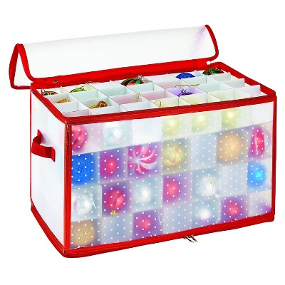 Ornament Storage Organizer Holds 112 2.25in Ornaments Red - Simplify