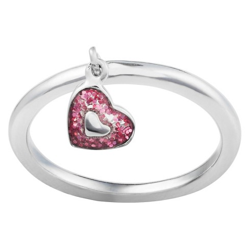 Women's Journee Collection Heart Dangle Charm Ring in Sterling Silver - Pink - image 1 of 2