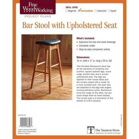 Fine Woodworking Bar Stool With Upholstered Seat Project Plans : Intermediate (Paperback) - image 1 of 1