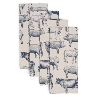 4pk Cotton Farm Animals Kitchen Towel Set - Town & Country Living