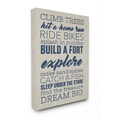 "24""x1.5""x30"" Climb Trees Dream Big Navy with Tan Oversized Stretched Canvas Wall Art - Stupell Industries"