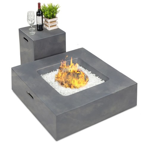 Best Choice Products 35x35in 40 000 Btu Outdoor Square Propane Fire Pit Table W Side Table Tank Storage Cover Target