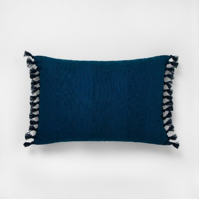 "14"" x 20"" Wide Stripe Knotted Fringe Throw Pillow Navy - Hearth & Hand™ with Magnolia"