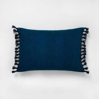 """14"""" x 20"""" Wide Stripe Knotted Fringe Throw Pillow Navy - Hearth & Hand™ with Magnolia"""