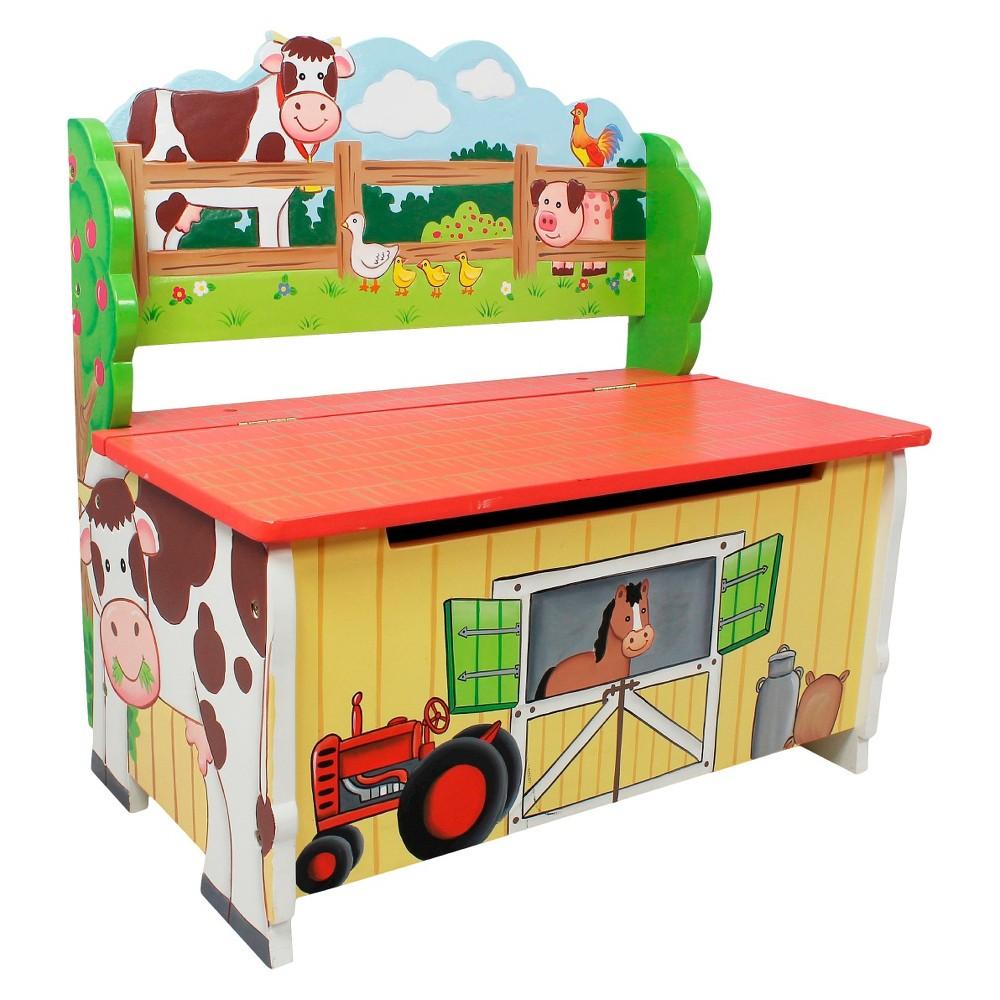 Image of Fantasy Fields Happy Farm Storage Bench Wood- Teamson