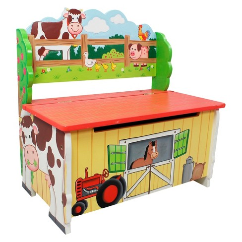 Fantasy Fields Happy Farm Storage Bench Wood Teamson Target