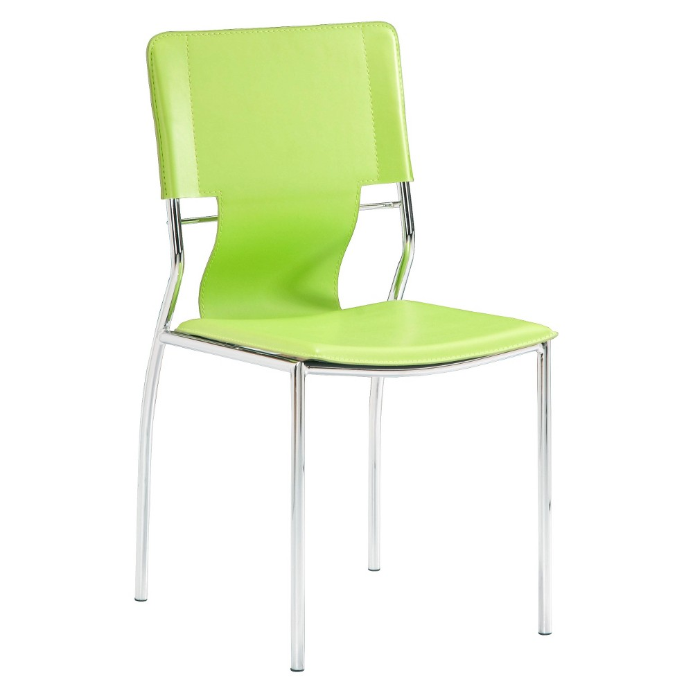 Contemporary Chromed Steel Dining Chair (Set of 4) - Green - ZM Home