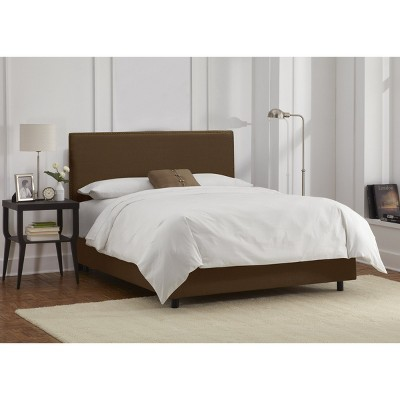 California King Arcadia Nailbutton Linen Upholstered Bed Linen Chocolate - Skyline Furniture, Linen Brown