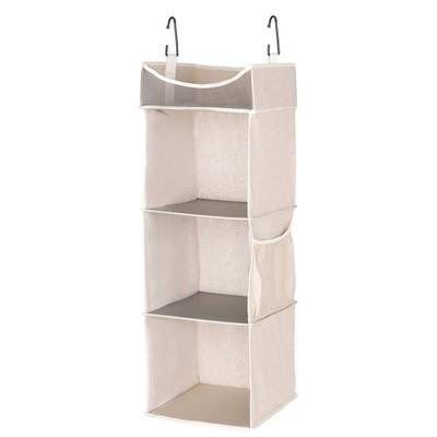 StorageWorks 4-Shelf Hanging Closet Organizer Beige