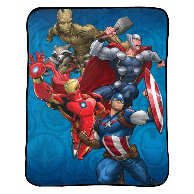 "Marvel Avengers 46""x60"" Throw Blanket Blue"