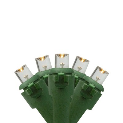 Northlight 50 Battery Operated Warm White LED Wide Angle Christmas Lights - 24.5 ft Green Wire