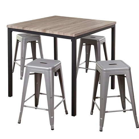 Barletta Counter Height Table Set Black/Gray/Silver 5 Piece - TMS - image 1 of 2