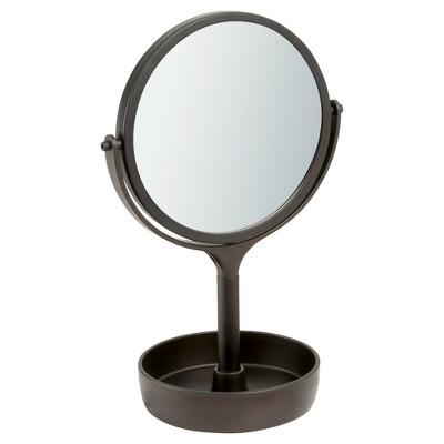 Free Standing Swivel Bathroom Vanity Mirror 1X/3X with Tray Bronze - iDESIGN