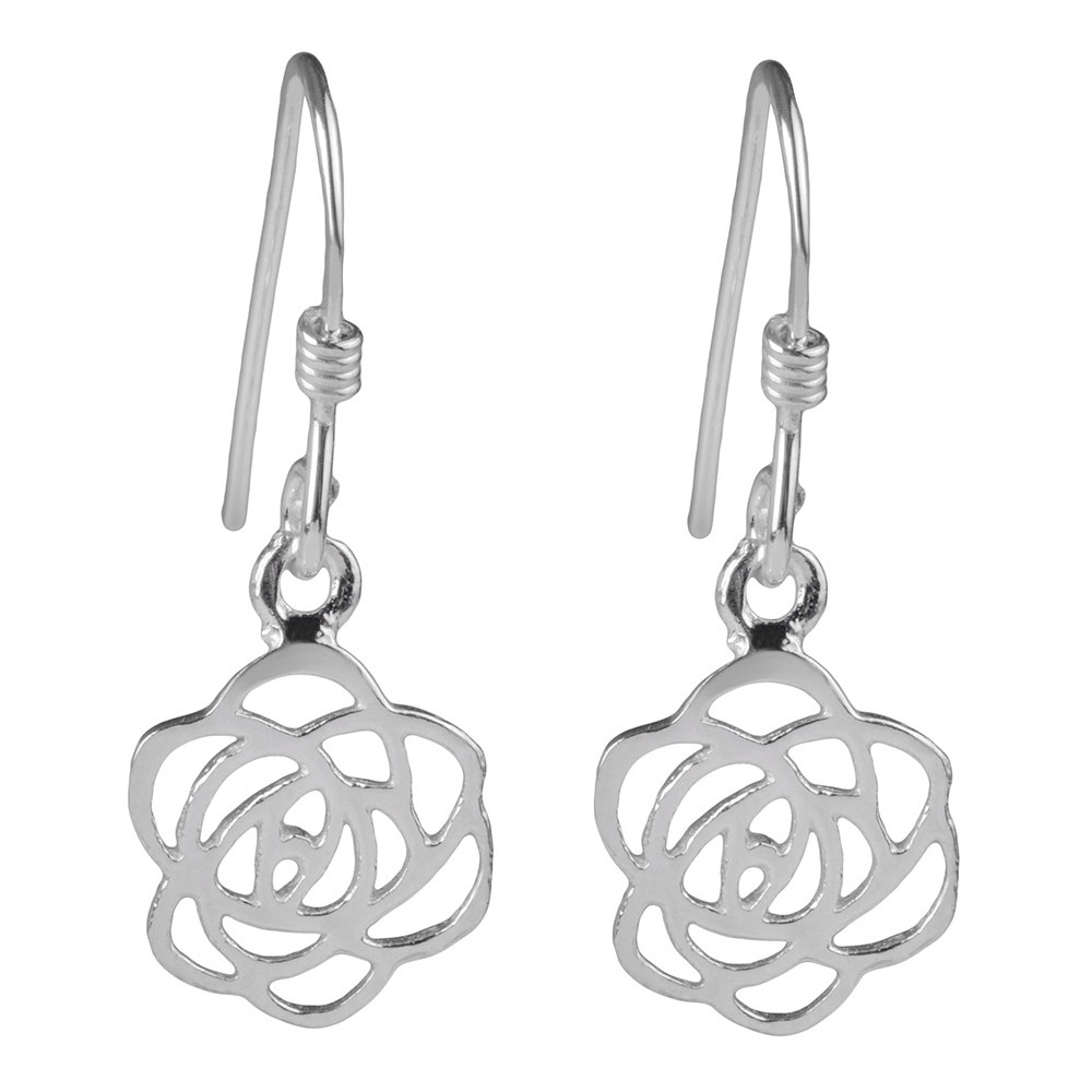 Women's Journee Collection Sterling Silver Cut-out Rose Dangle Earrings - Silver Flaunt in high fashion with these earrings from Journee Collection. These dangle earrings fashion flower emblems and are finished with high polish to complete this great look. Color: Silver. Gender: Female. Age Group: Adult.