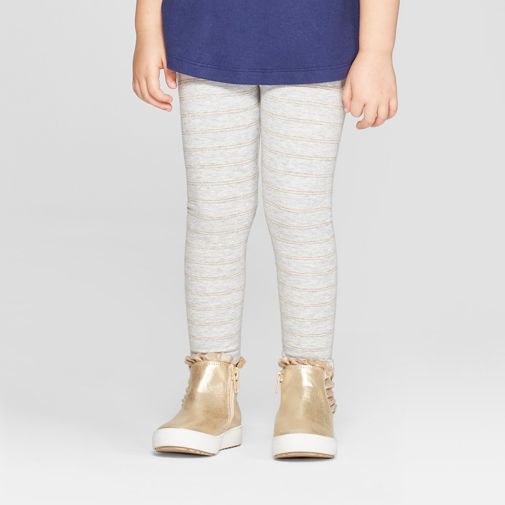 Toddler Girls' Striped Leggings - Cat & Jack Gray/Gold Glitter 12M