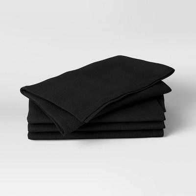4pk Cotton Easy Care Napkins Black - Threshold™