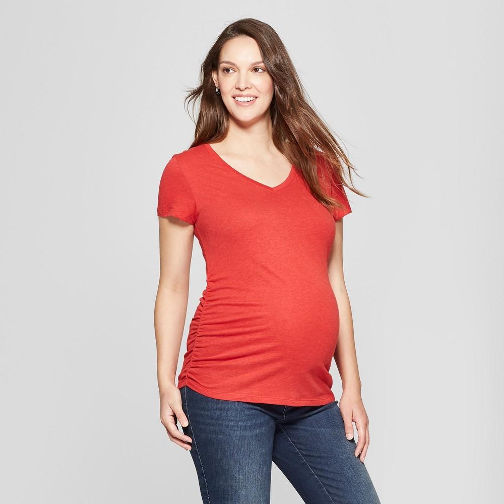 Maternity Short Sleeve Side Shirred V-Neck T-Shirt - Isabel Maternity by Ingrid & Isabel Red Heather L, Women's