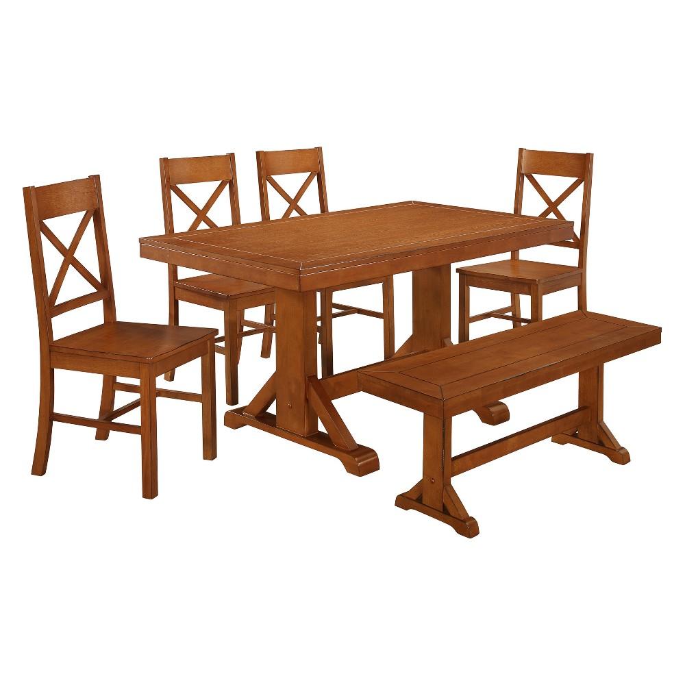 6pc Wood Dining Set Antique Brown - Saracina Home