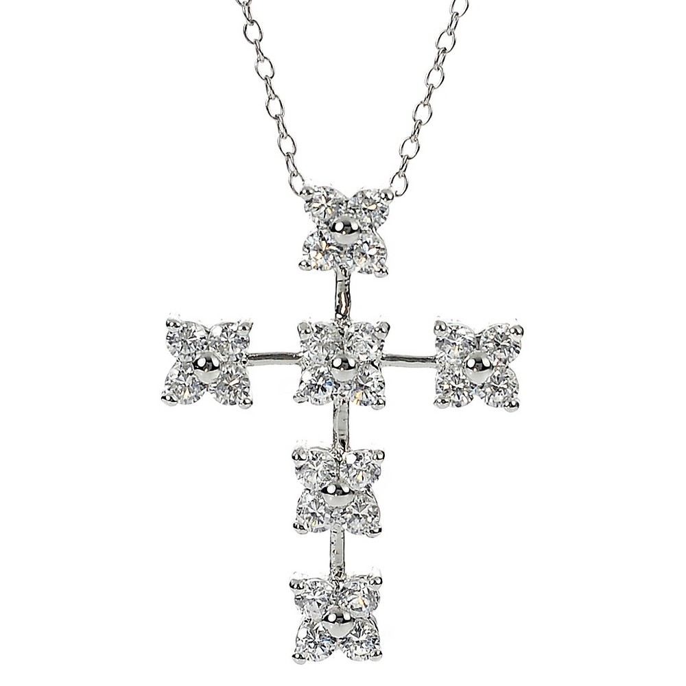 1 7/8 CT. T.W. Square-cut CZ Prong Set Cross Pendant Necklace in Sterling Silver - Silver, Girl's