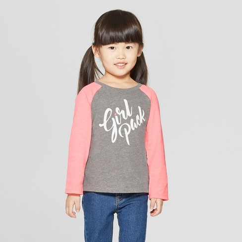 Toddler Girls' Long Sleeve 'Girl Pack' T-Shirt - Cat & Jack™ Gray/Pink 4T - image 1 of 3