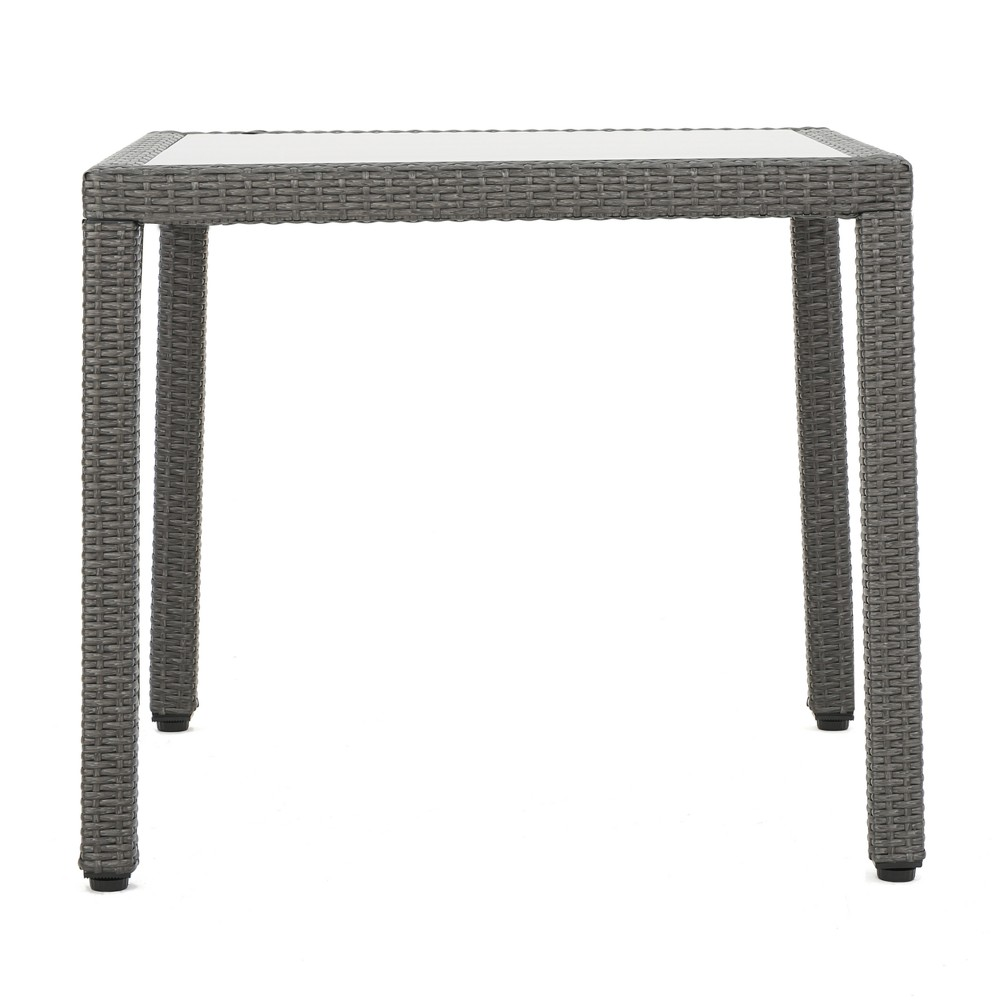 San Pico Square Wicker Dining Table - Gray - Christopher Knight Home
