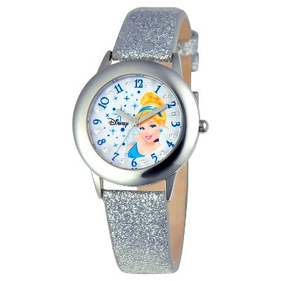 Girls' Disney Princess Cinderella Stainless Steel Glitz Watch - Silver