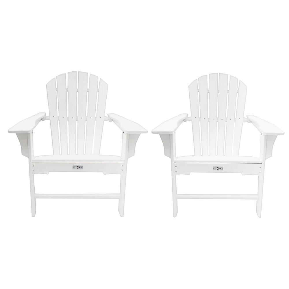Hampton 2pk Outdoor Patio Adirondack Chair - White - LuXeo